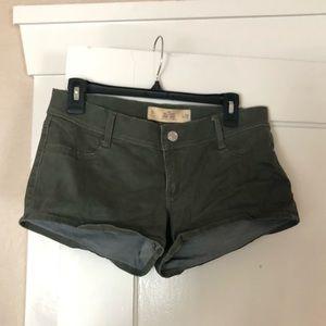 Hollister olive green jean shorts